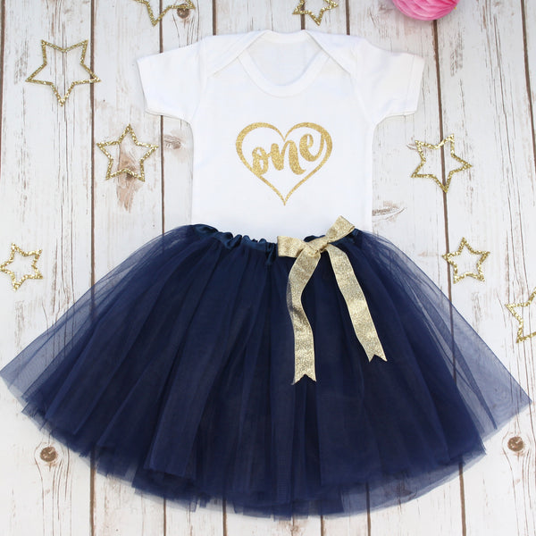 First Birthday Gold Heart Tutu Outfit, - Betty Bramble