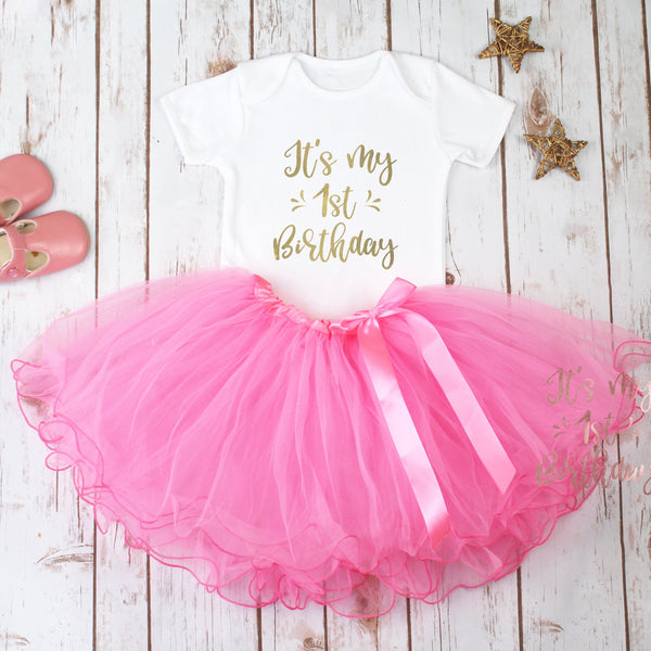 My First Birthday Pink Tutu Outfit, - Betty Bramble