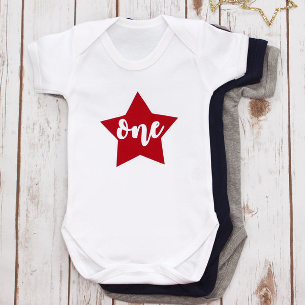 First Birthday Star Onesie, - Betty Bramble