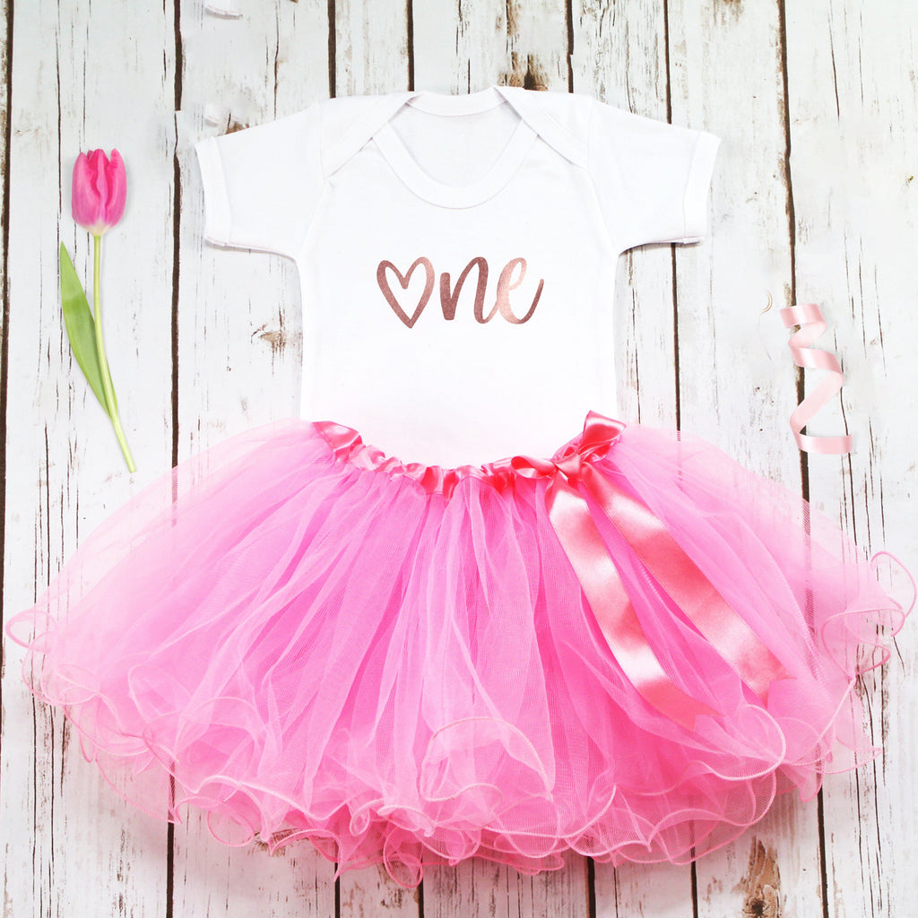 First Birthday Heart Tutu Outfit, - Betty Bramble