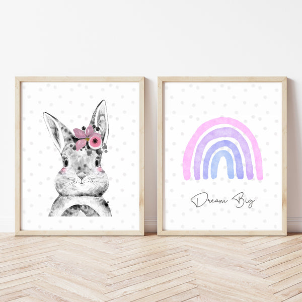 Rainbow and Bunny Rabbit Girls Nursery Art Print