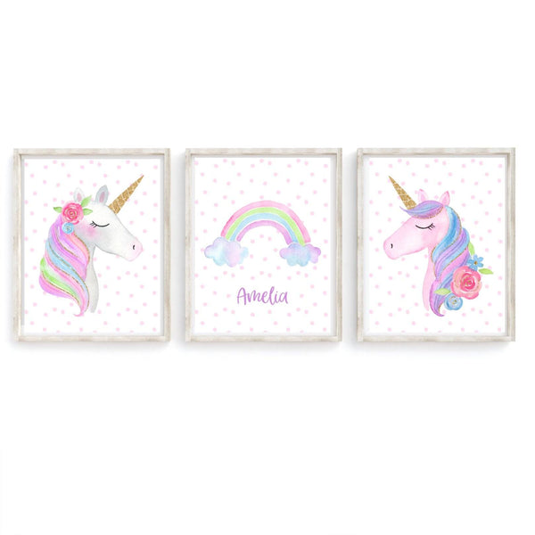 Unicorns and Rainbow Personalised Nursery Art Prints