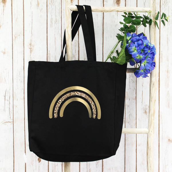 Large Shopper Tote Bag with Gold Rainbow, - Betty Bramble