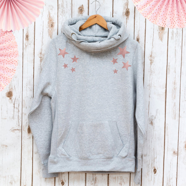 Scattered Stars Luxe Cowl Neck Sweatshirt,Ladies Sweatshirt - Betty Bramble