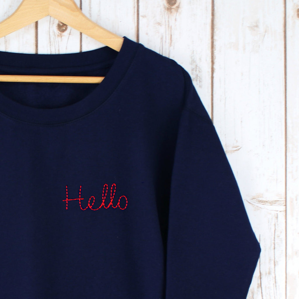 Embroidered Hello Sweatshirt,Ladies Sweatshirt - Betty Bramble