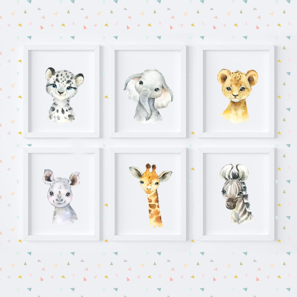 Jungle Safari Babies Nursery Art Print Set