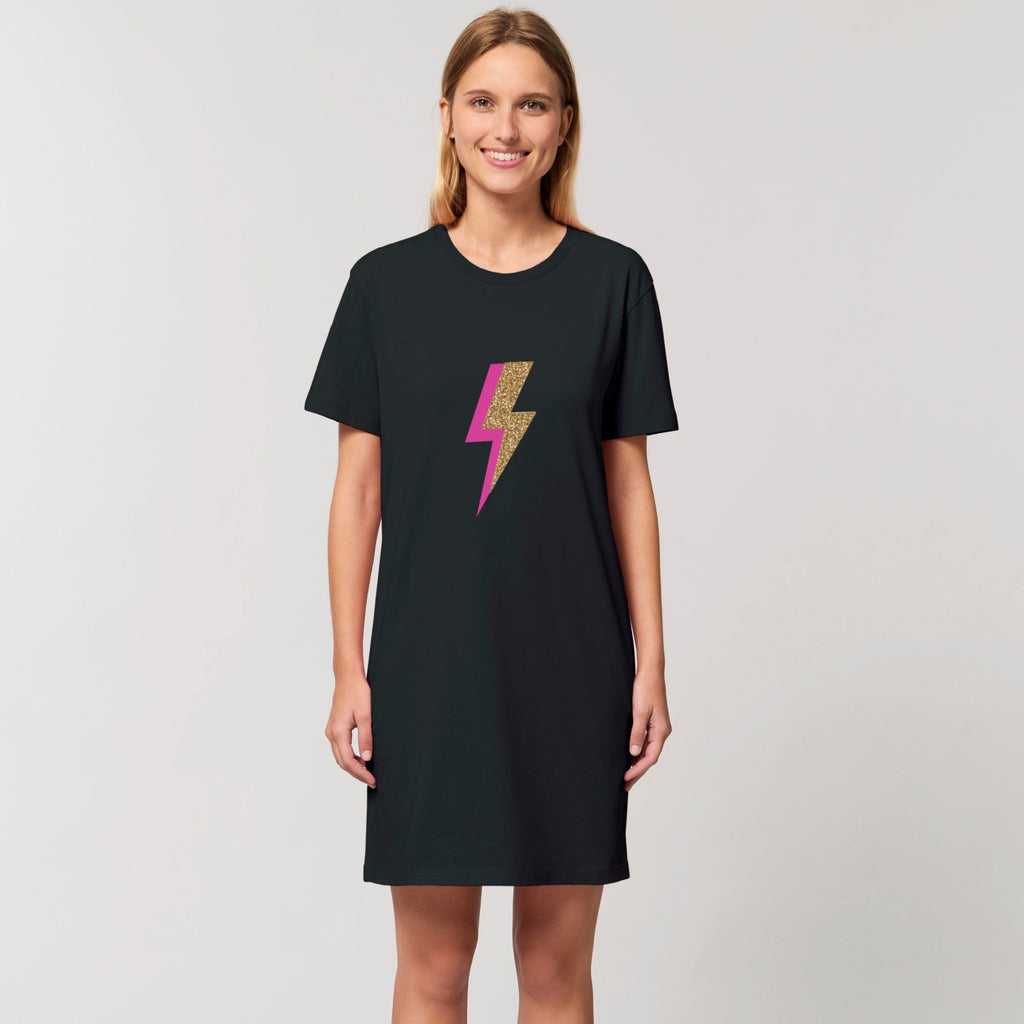 Ladies Black T Shirt Tunic Dress with Pink and Gold Bolt