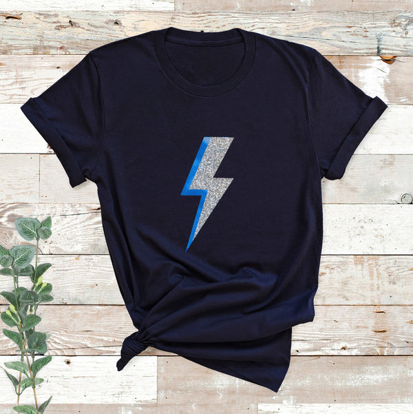 Ladies Blue Lightning Bolt T Shirt, - Betty Bramble