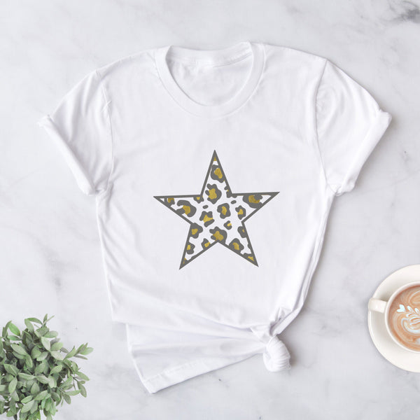 Ladies Gold Leopard Star T Shirt, - Betty Bramble