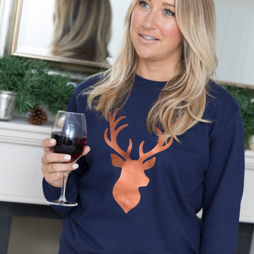 Ladies Christmas Jumper - Copper Stag,Christmas - Betty Bramble