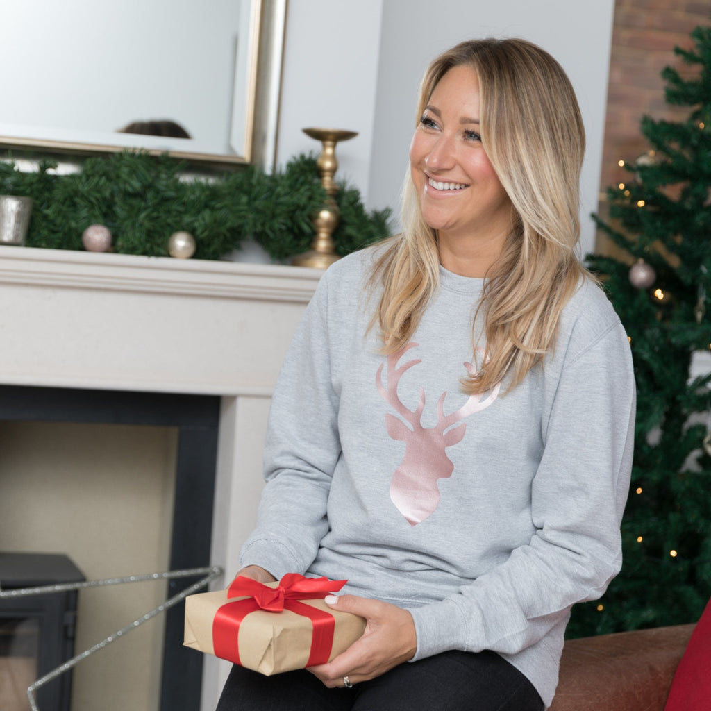 Ladies Christmas Jumper - Rose Gold Stag