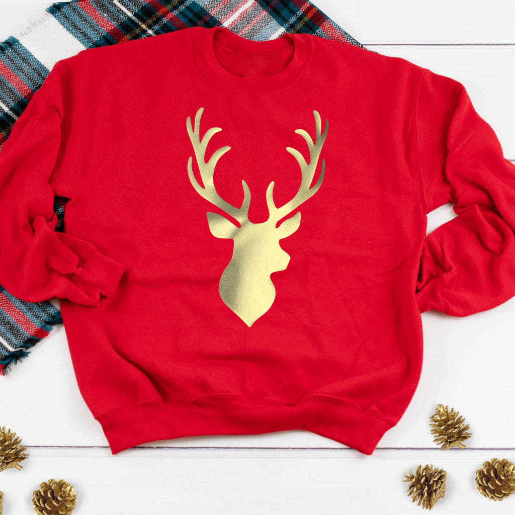 Ladies Christmas Jumper - Gold Stag with Red