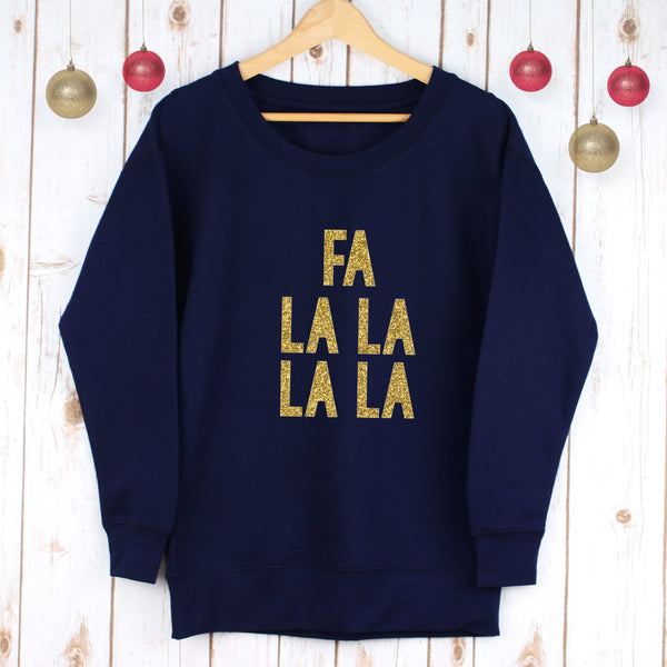 Ladies Christmas Jumper - Glitter Fa La La,Christmas - Betty Bramble