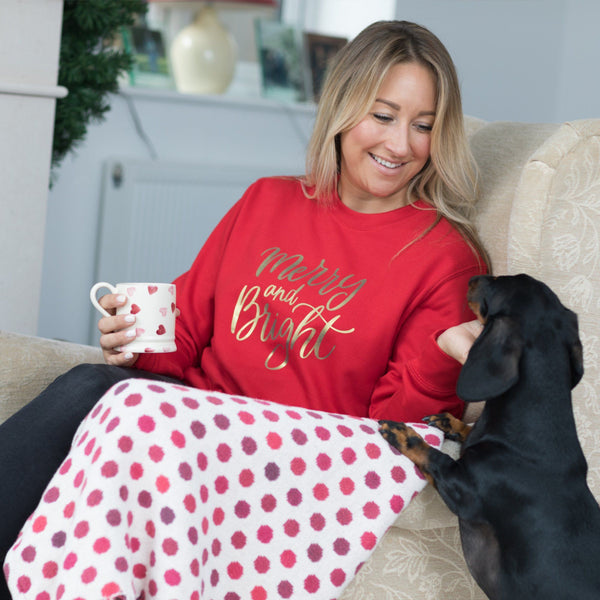 Ladies Christmas Jumper - Merry & Bright in Red,Christmas - Betty Bramble