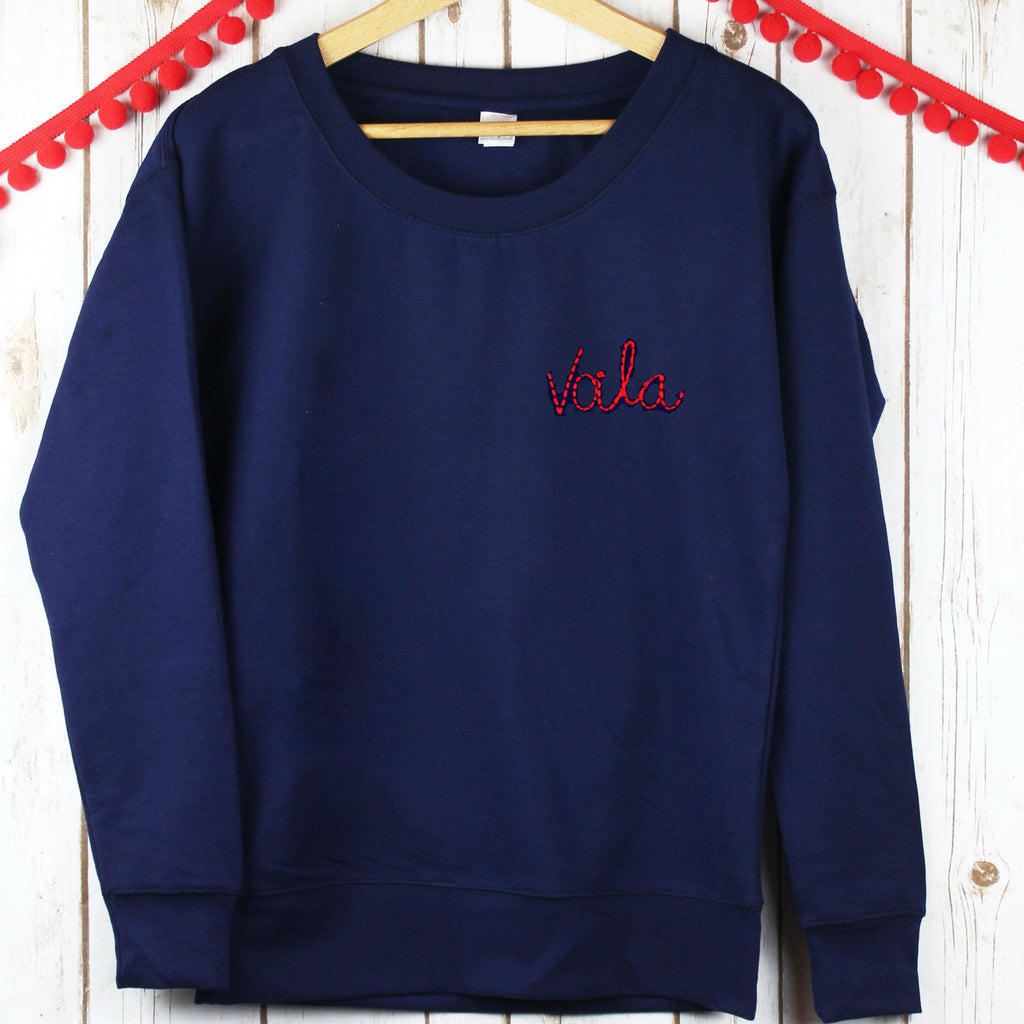 Embroidered Voila Sweatshirt,Christmas - Betty Bramble