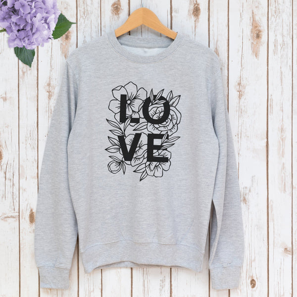 Ladies Floral Love Sweatshirt,Ladies Sweatshirt - Betty Bramble