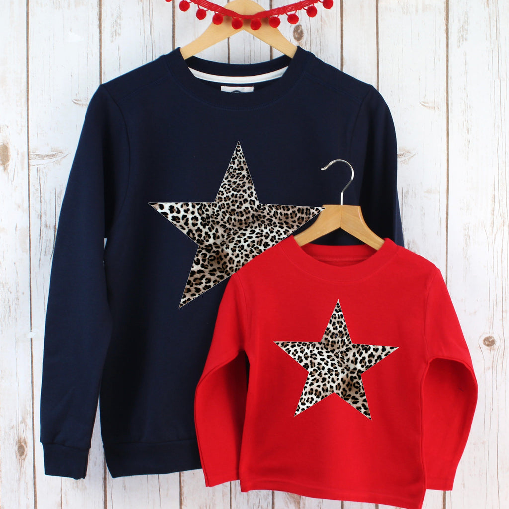 Leopard Print Star Ladies Sweatshirt and Child's T Shirt,Ladies Sweatshirt - Betty Bramble