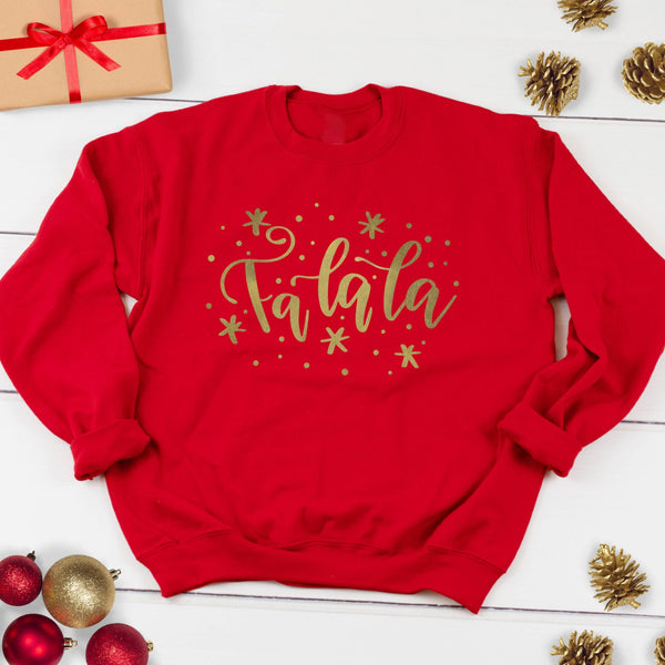 Ladies Christmas Jumper - Fa La La in Red,Christmas - Betty Bramble