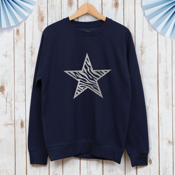 Ladies Zebra Star Sweatshirt,Ladies Sweatshirt - Betty Bramble