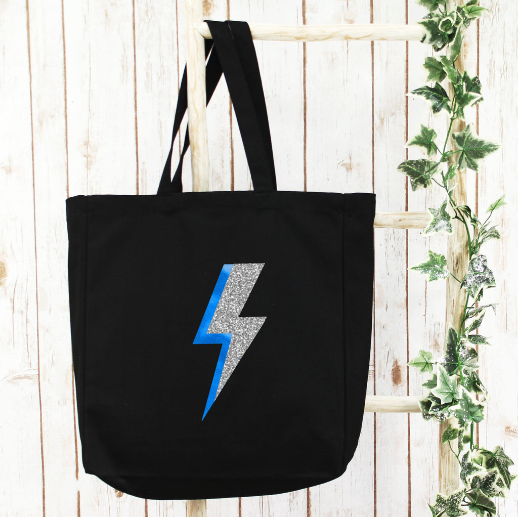 Large Shopper Tote Bag with Blue Lightning Bolt, - Betty Bramble