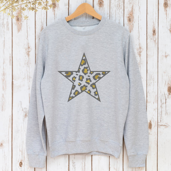 Leopard Print Star Sweatshirt,Ladies Sweatshirt - Betty Bramble
