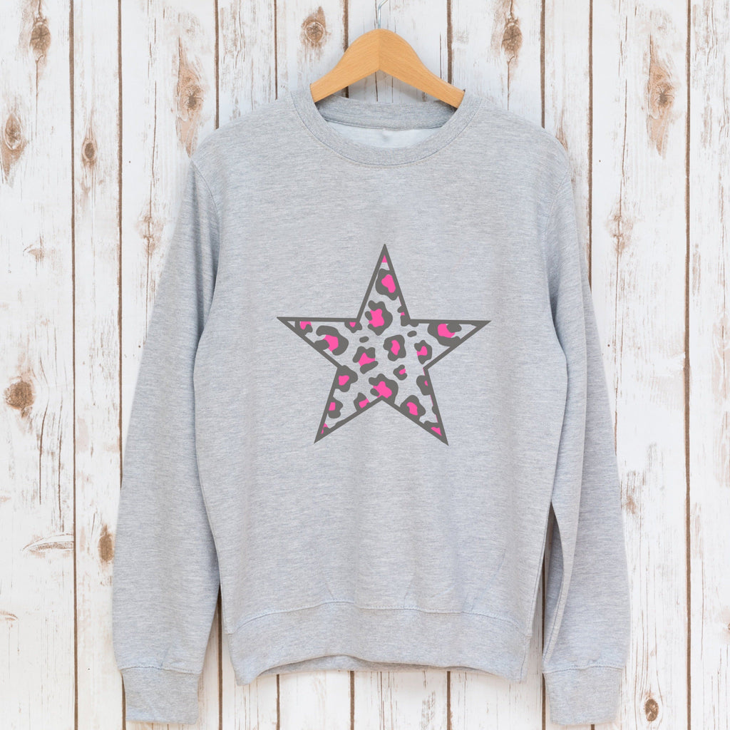 Leopard Print Neon Pink Star Sweatshirt,Ladies Sweatshirt - Betty Bramble