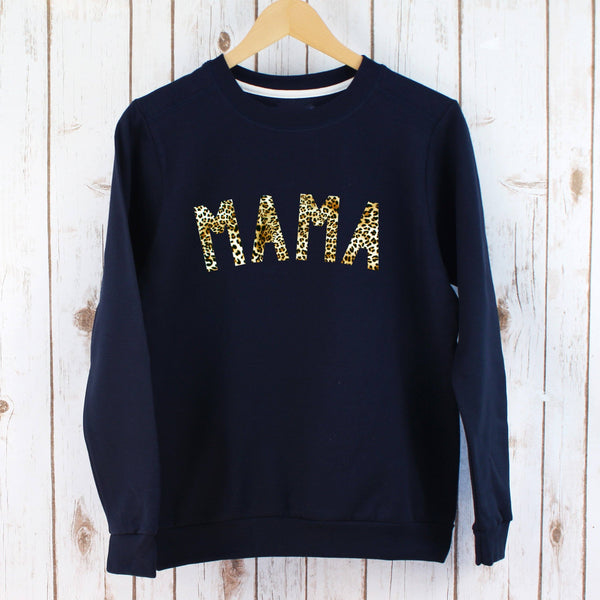 Ladies Mama Leopard Print Sweatshirt,Ladies Sweatshirt - Betty Bramble