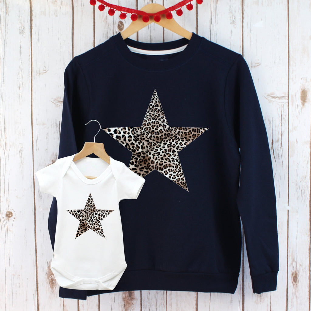 Leopard Print Star Ladies Sweatshirt and Bodysuit Twinning Set,Ladies Sweatshirt - Betty Bramble