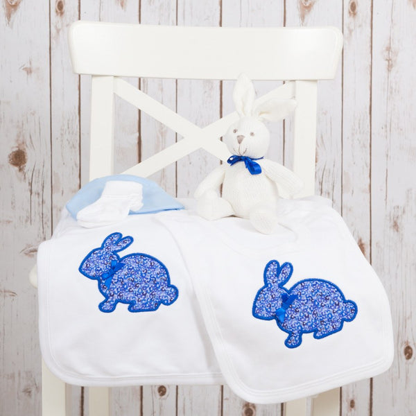 Liberty Bunny Baby Gift Set - Blue,Personalised Baby Gifts - Betty Bramble
