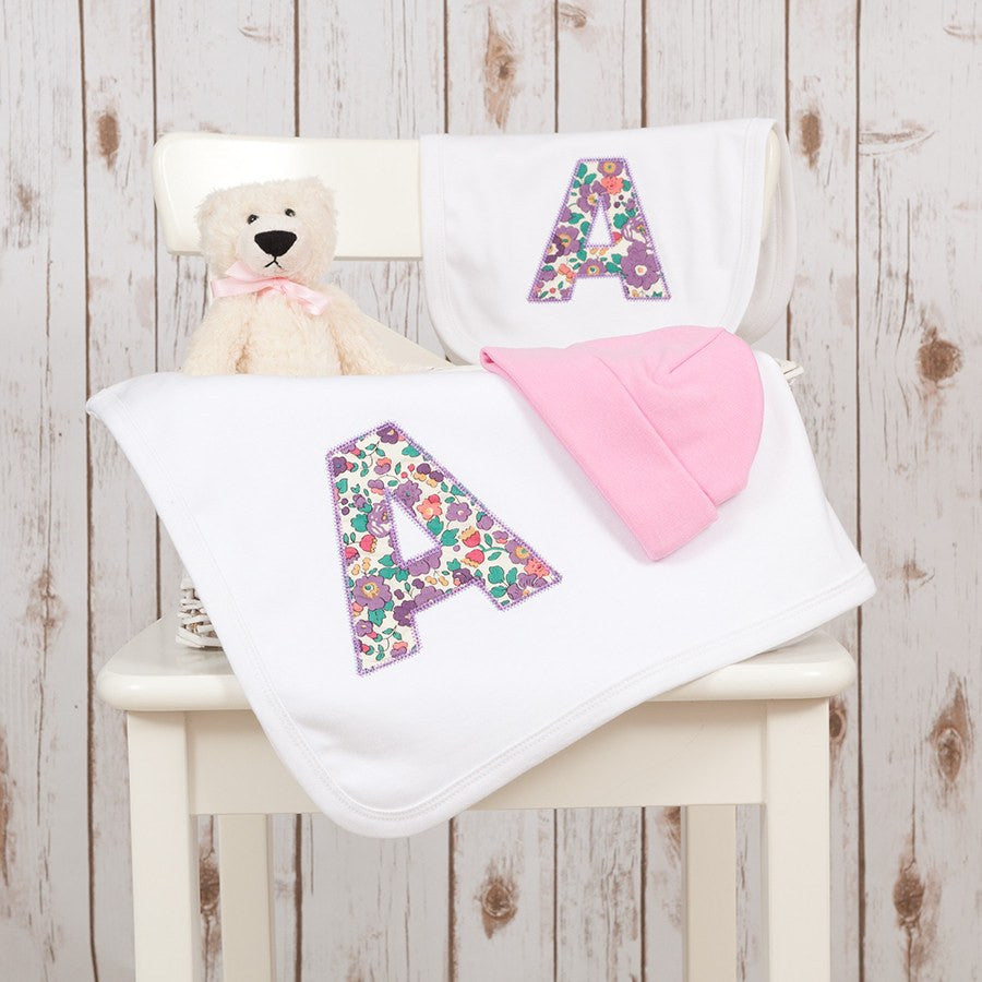 Personalised baby gifts liberty letter baby blanket gift set personalised liberty baby gift setpersonalised baby gifts betty bramble negle Images