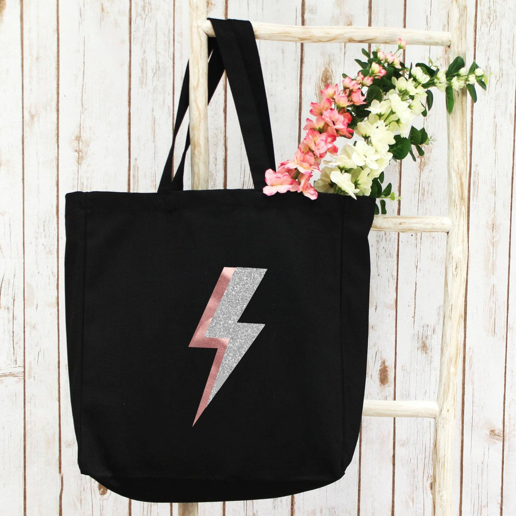 Large Shopper Tote Bag with Rose Gold Lightning Bolt, - Betty Bramble