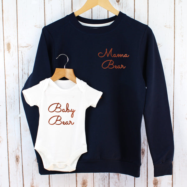 Mama Bear Copper Sweatshirt and Bodysuit Twinning Set,Christmas - Betty Bramble