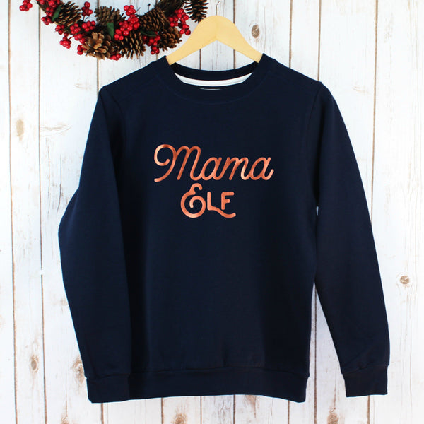 Ladies Christmas Jumper - Metallic Mama Elf,Christmas - Betty Bramble