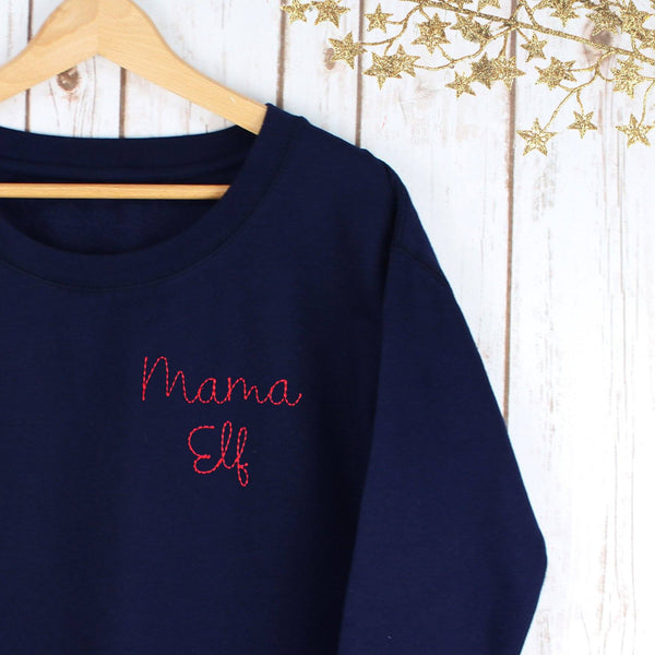 Embroidered Mama Elf Sweatshirt,Ladies Sweatshirt - Betty Bramble