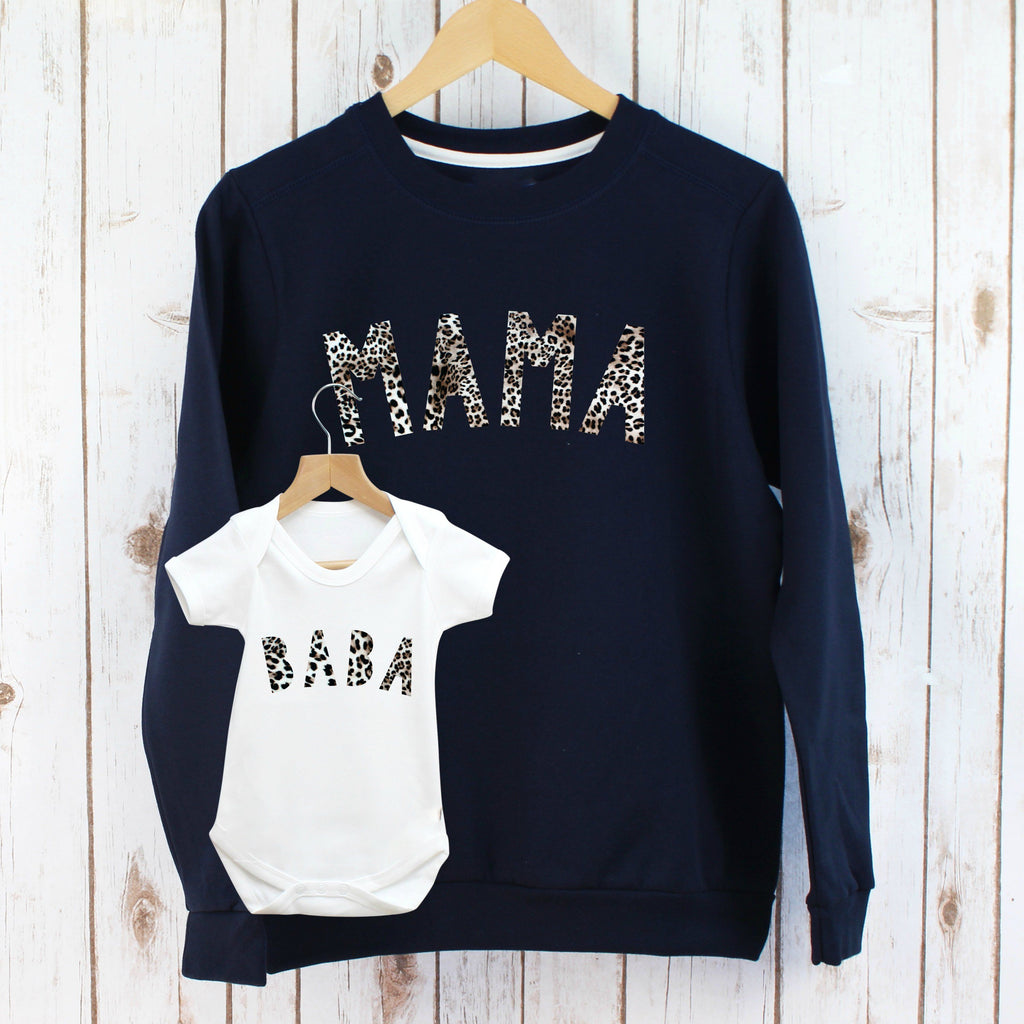 Leopard Mama and Baba Sweatshirt Twinning Set,Christmas - Betty Bramble
