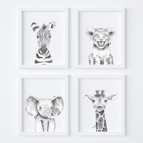 Monochrome Animal Safari Nursery Art Set,Art Print - Betty Bramble