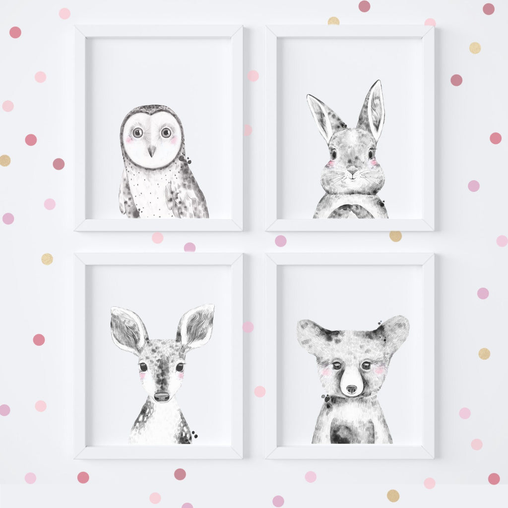 Monochrome Woodland Animal Art Prints,Art Print - Betty Bramble