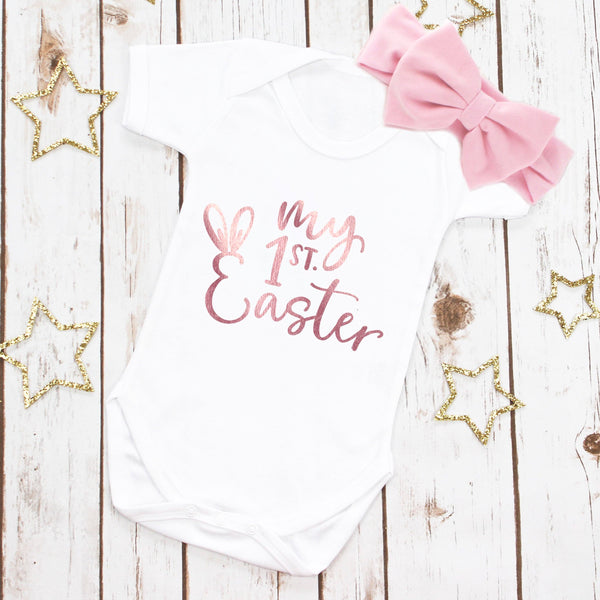 My First Easter Rose Gold Bodysuit, - Betty Bramble