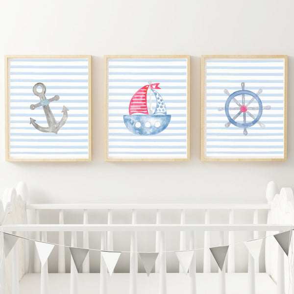 Sailing Boat Nautical Nursery Art Prints,Art Print - Betty Bramble