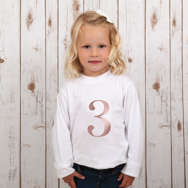 Birthday Number T Shirt in Rose Gold,Kids T Shirts - Betty Bramble