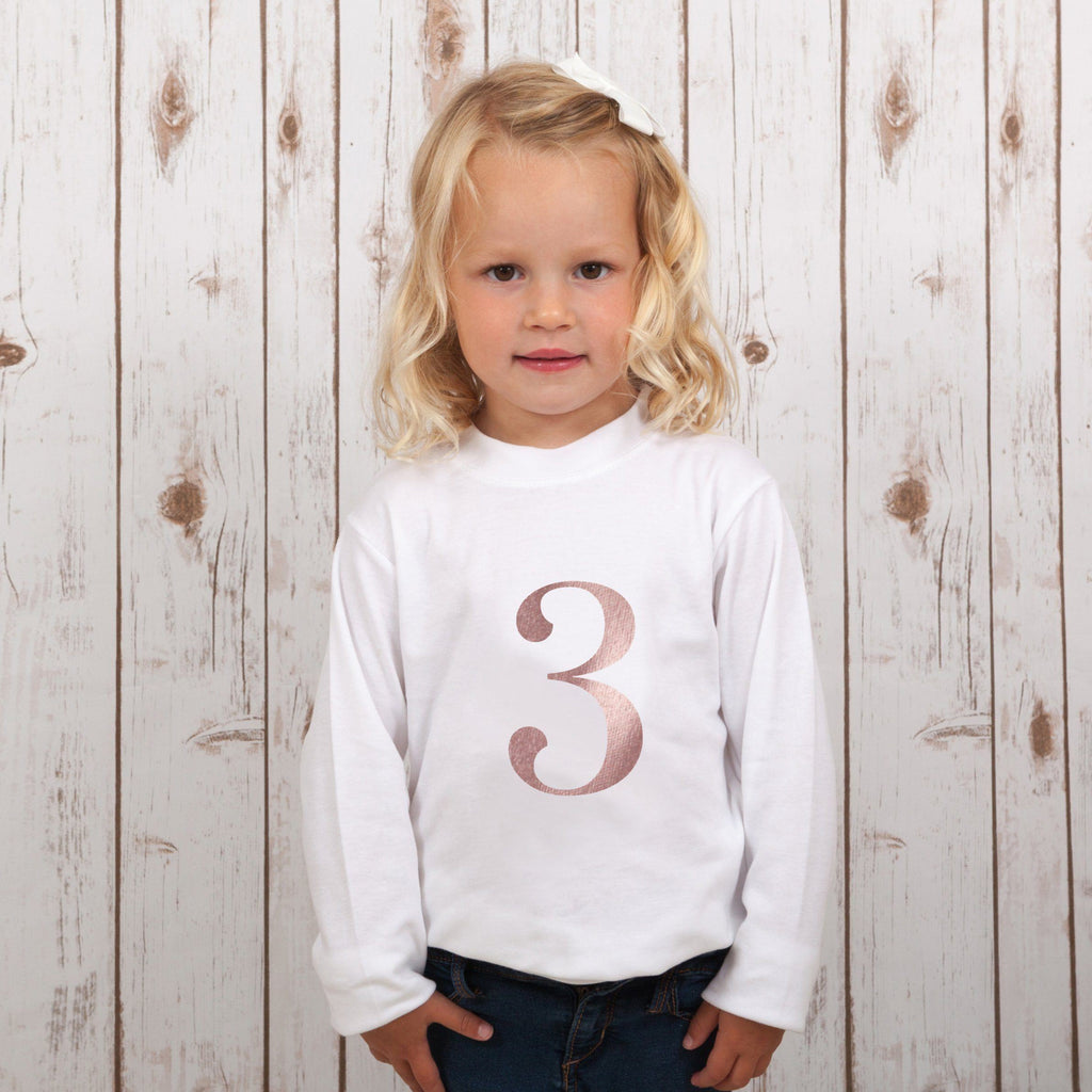Summer Sale - Birthday Number T Shirt in Rose Gold,Kids T Shirts - Betty Bramble