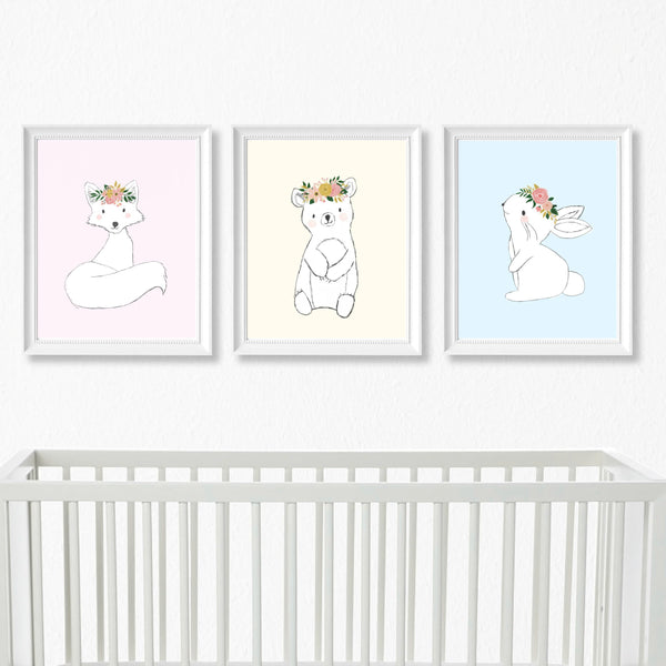 Pastel Woodland Nursery Art Print Set,Art Print - Betty Bramble