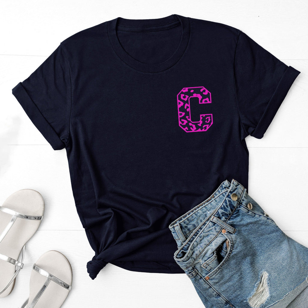 Ladies Personalised Neon Leopard Letter T Shirt, - Betty Bramble