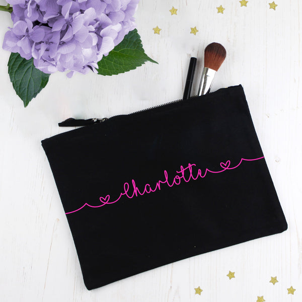 Personalised Make Up Bag with Neon Pink Name, - Betty Bramble