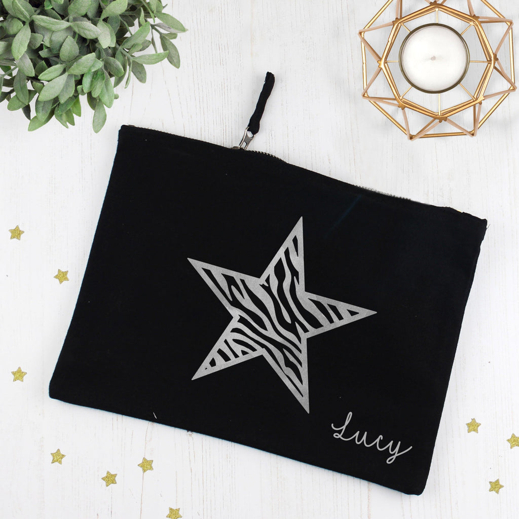 Personalised Zebra Star Make Up Bag with Name, - Betty Bramble