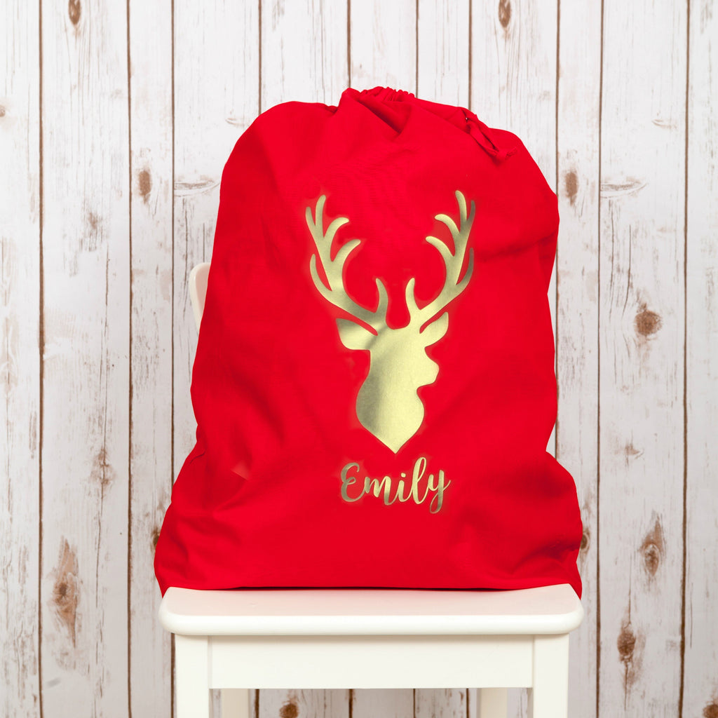 Personalised Santa Sack with Gold Reindeer