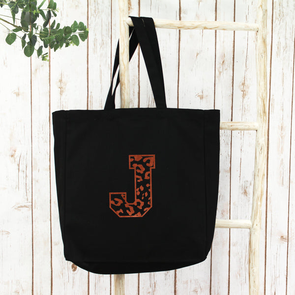 Personalised Leopard Initial Shopper Tote Bag, - Betty Bramble