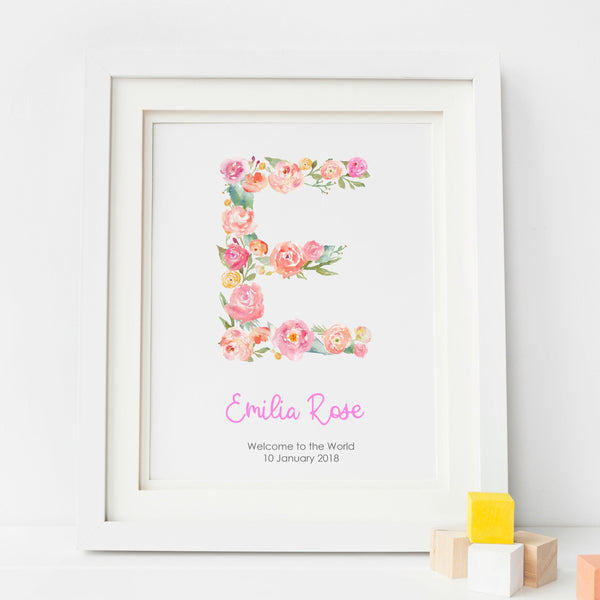 Personalised Floral Baby Girl Nursery Art Print,Art Print - Betty Bramble