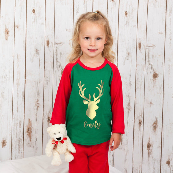 Personalised Christmas Pyjamas - Gold Reindeer,Christmas - Betty Bramble