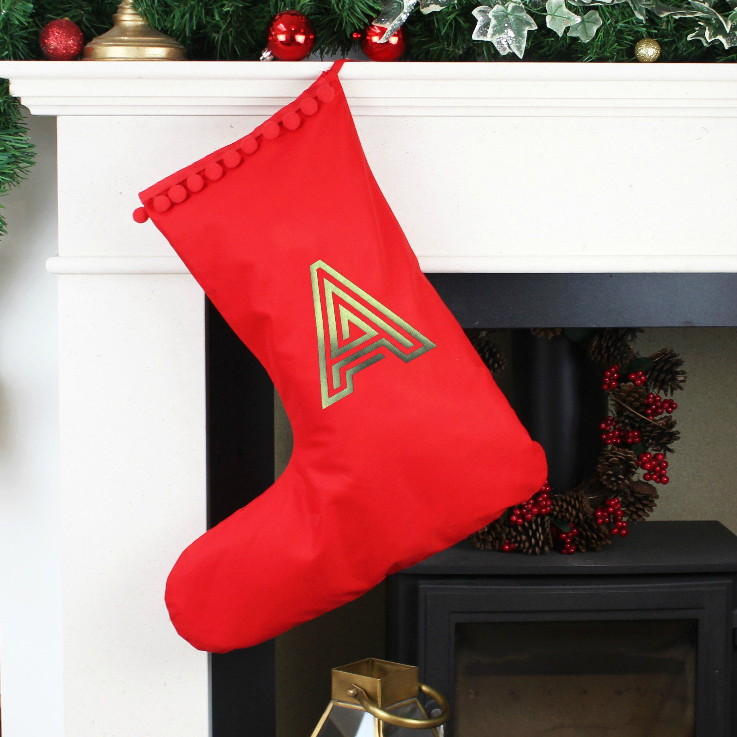 Letter Christmas Stockings.Personalised Christmas Stocking With Modern Letter